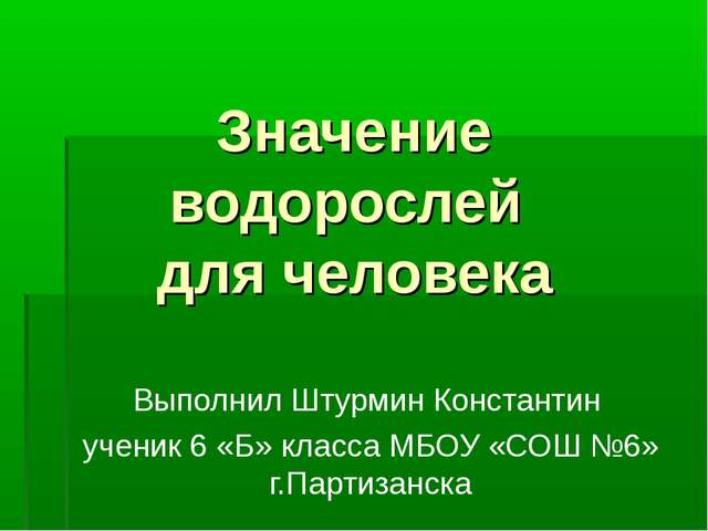 Значение водорослей для человека Выполнил Штурмин Константин ученик 6 «Б» кла...