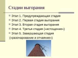 Стадии выгорания Этап 1. Предупреждающая стадия Этап 2. Первая стадия выгоран