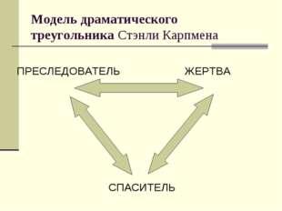 Модель драматического треугольника Стэнли Карпмена ПРЕСЛЕДОВАТЕЛЬ ЖЕРТВА СПАС