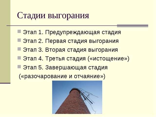 Стадии выгорания Этап 1. Предупреждающая стадия Этап 2. Первая стадия выгоран...