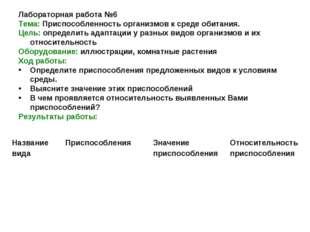 Лабораторная работа №6 Тема: Приспособленность организмов к среде обитания. Ц