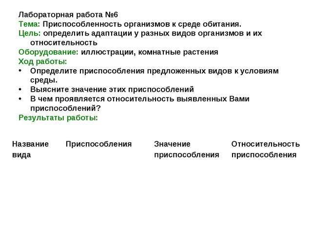 Лабораторная работа №6 Тема: Приспособленность организмов к среде обитания. Ц...