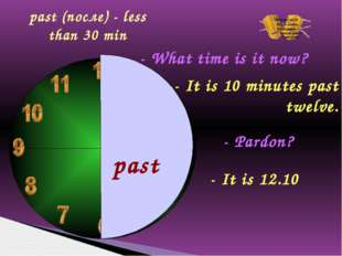 past - What time is it now? - It is 10 minutes past twelve. - Pardon? - It i