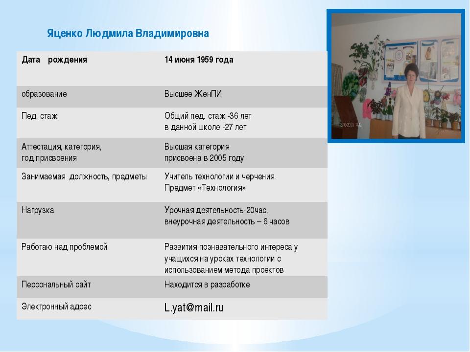 Яценко Людмила Владимировна Датарождения 14 июня 1959 года образование Высше...