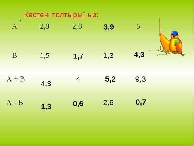 . Кестені толтырыңыз: 4,3 1,3 1,7 0,6 3,9 5,2 0,7 4,3