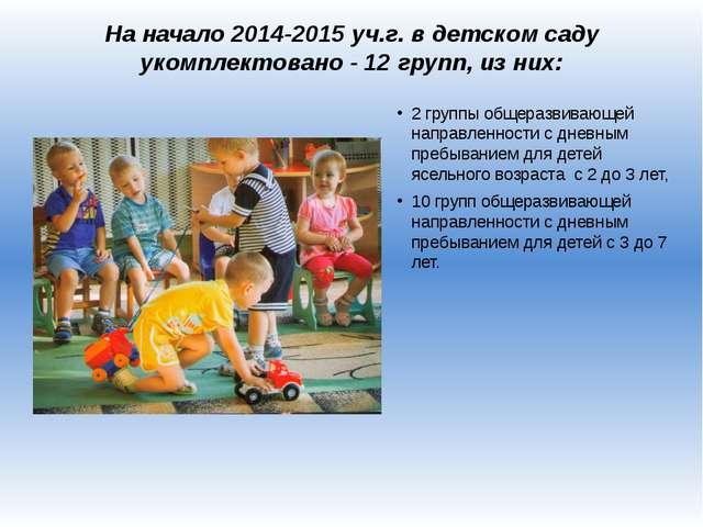 На начало 2014-2015 уч.г. в детском саду укомплектовано - 12 групп, из них: 2...