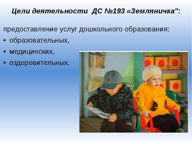 """Цели деятельности ДС №193 «Земляничка"""": предоставление услуг дошкольного обра..."""
