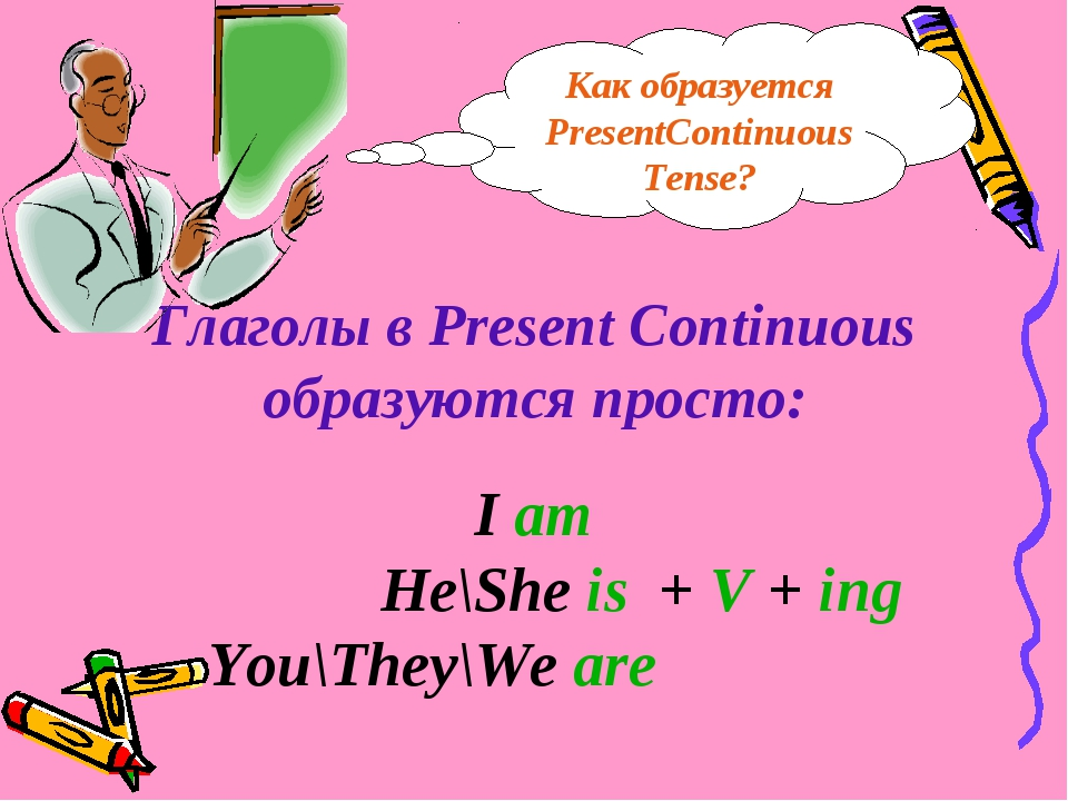 Глаголы в Present Continuous образуются просто: I am He\She is + V + ing You\...