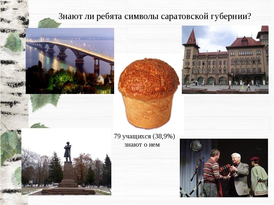 79 учащихся (38,9%) знают о нем Знают ли ребята символы саратовской губернии?
