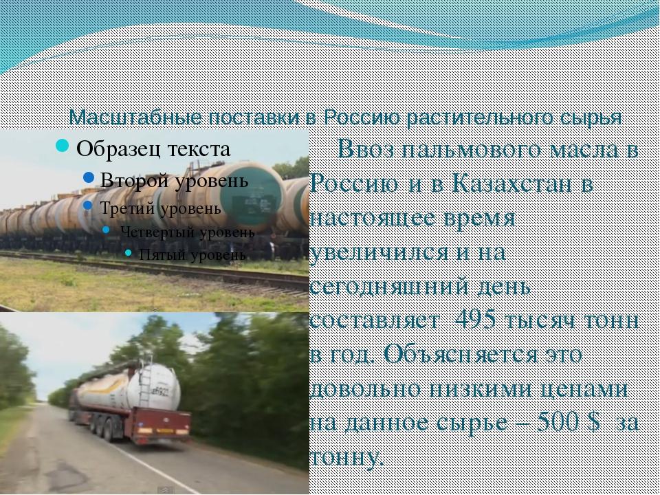 Масштабные поставки в Россию растительного сырья Ввоз пальмового масла в Ро...