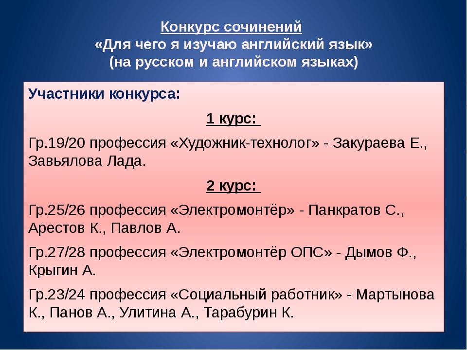Конкурс сочинений «Для чего я изучаю английский язык» (на русском и английско...