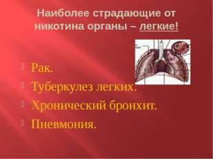 Наиболее страдающие от никотина органы – легкие! Рак. Туберкулез легких. Хрон