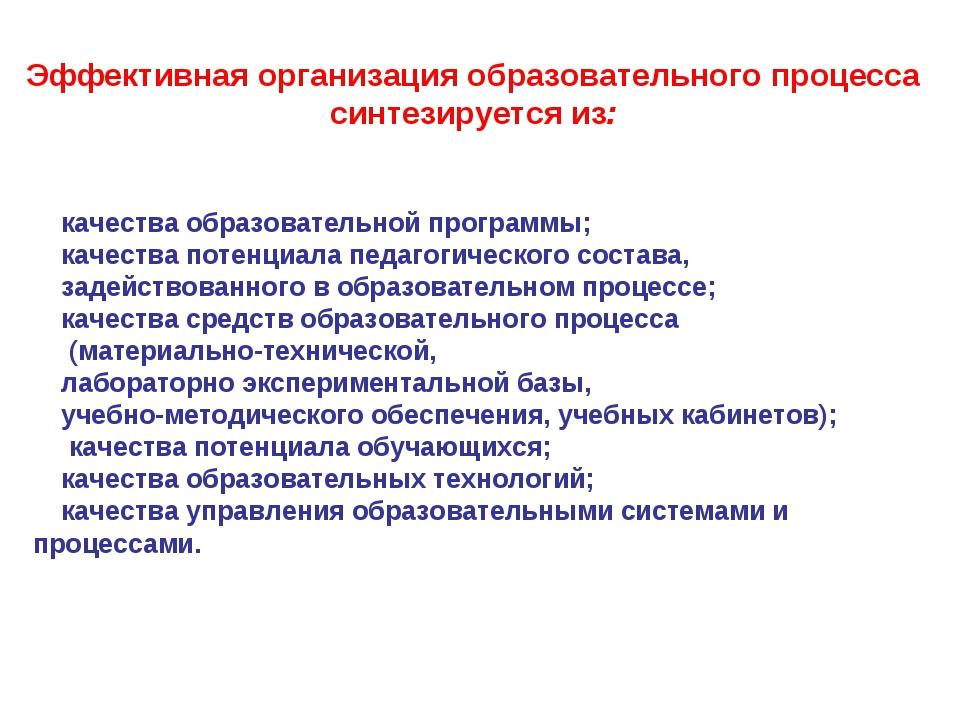 Эффективная организация образовательного процесса синтезируется из: качества...