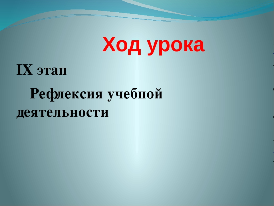 Ход урока IX этап Рефлексия учебной деятельности