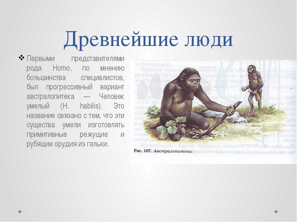 Древнейшие люди Первыми представителями рода Homo, по мнению большинства спец...