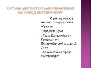 Структуру органов местного самоуправления образуют: городская Дума Глава Ека