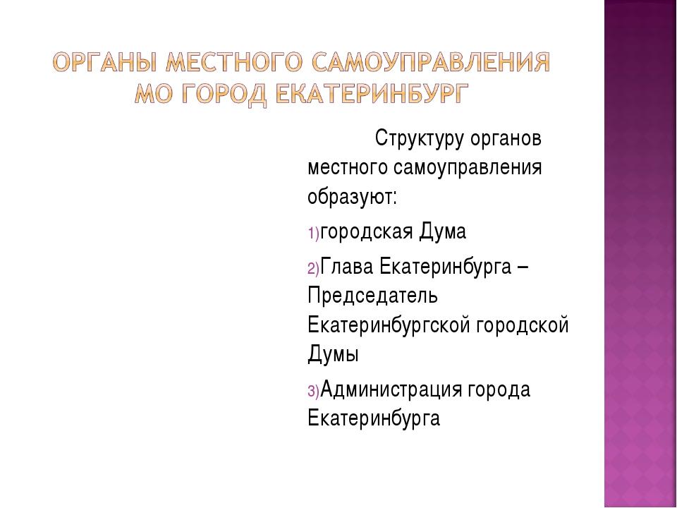 Структуру органов местного самоуправления образуют: городская Дума Глава Ека...