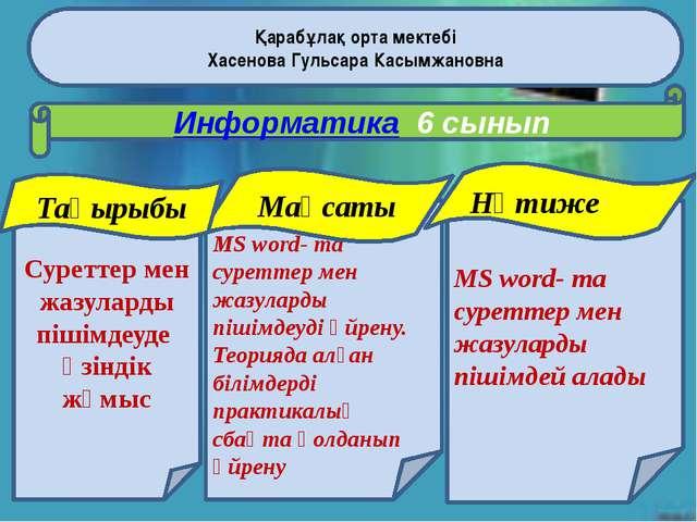 Қарабұлақ орта мектебі Хасенова Гульсара Касымжановна Информатика 6 сынып Сур...