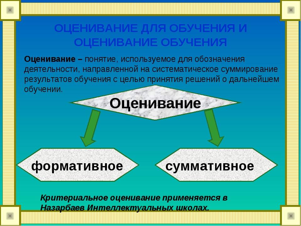 Оценивание – понятие, используемое для обозначения деятельности, направленной...