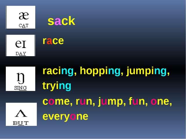 race racing, hopping, jumping, trying come, run, jump, fun, one, everyone sack