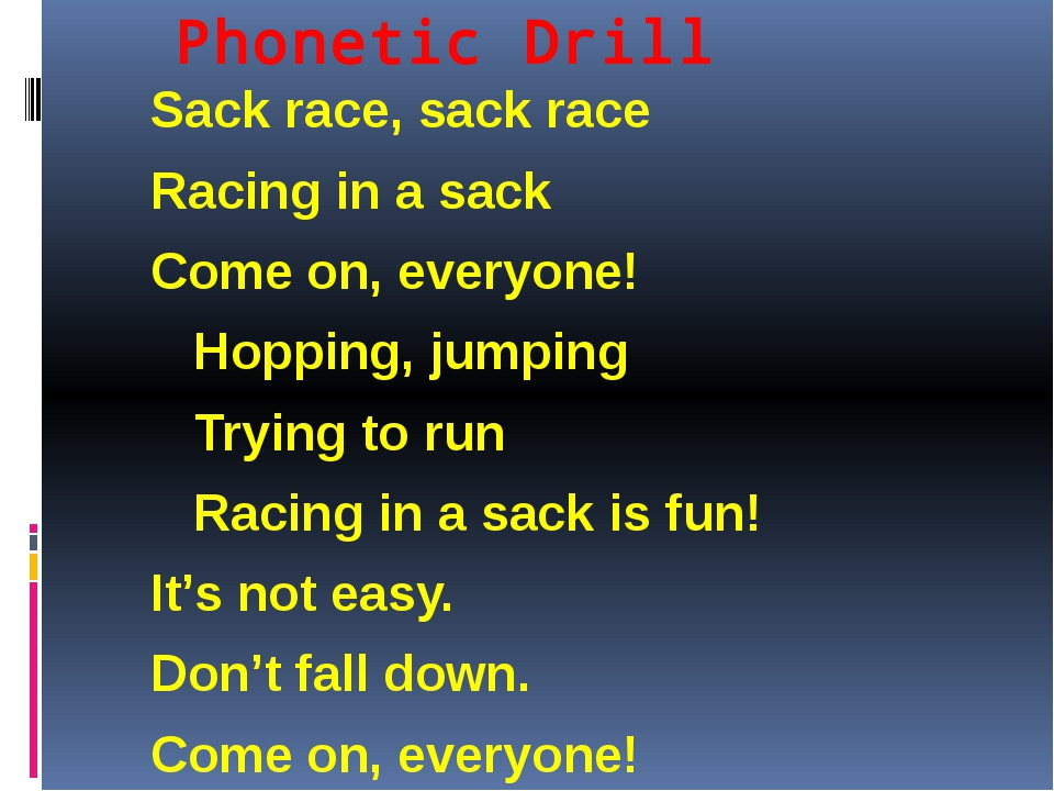 Phonetic Drill Sack race, sack race Racing in a sack Come on, everyone! Hoppi...