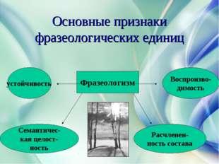 Основные признаки фразеологических единиц Фразеологизм устойчивость Семантиче