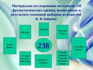 Материалом исследования послужили 238 фразеологических единиц, выявленных в р