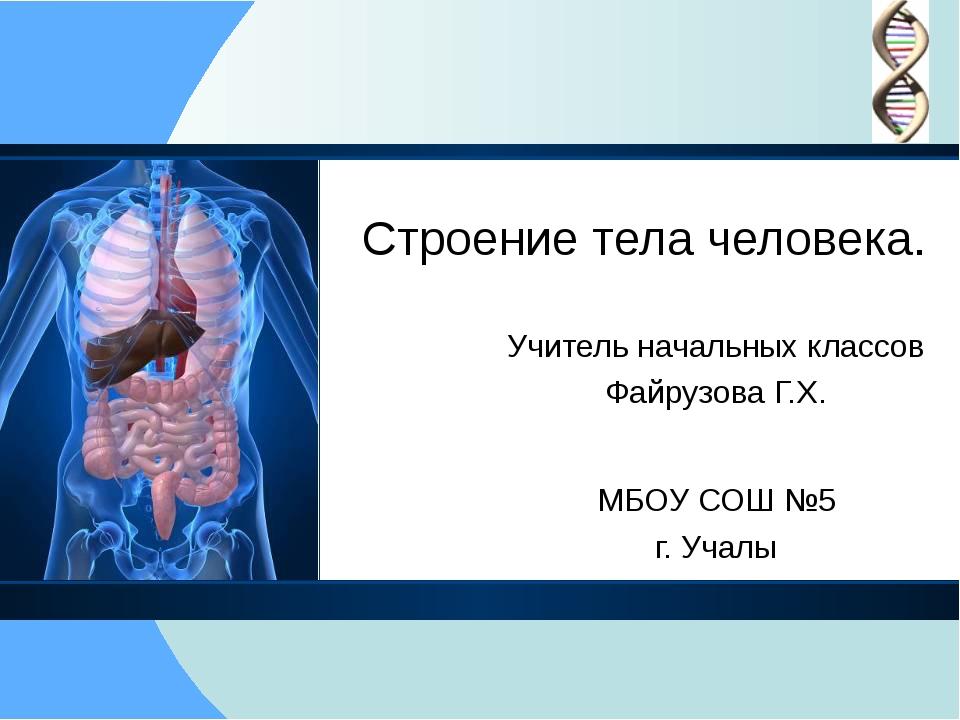 Строение тела человека. Учитель начальных классов Файрузова Г.Х. МБОУ СОШ №5...