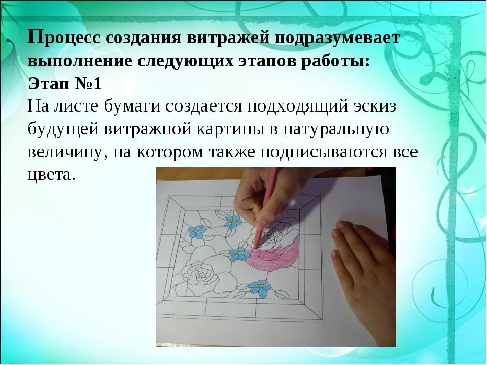 Процесс создания витражей подразумевает выполнение следующих этапов работы: Э...