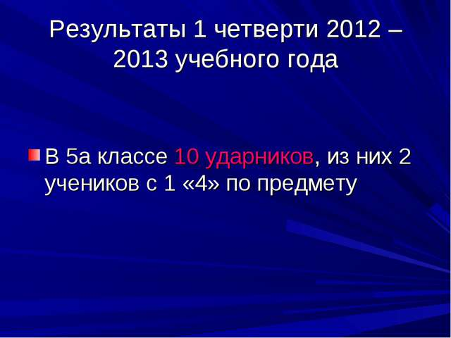 Результаты 1 четверти 2012 – 2013 учебного года В 5а классе 10 ударников, из...