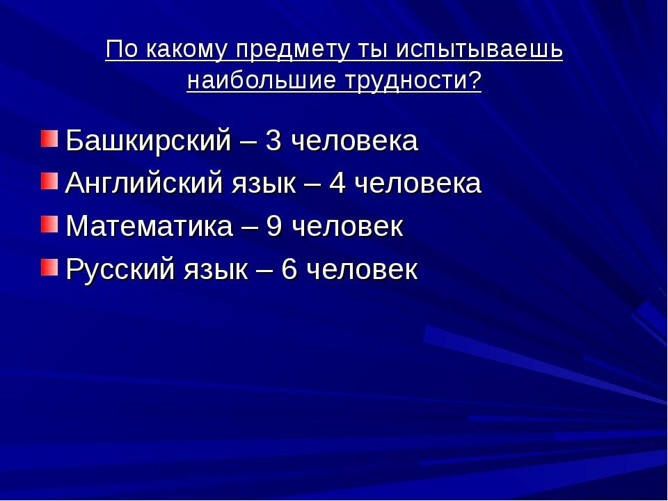 По какому предмету ты испытываешь наибольшие трудности? Башкирский – 3 челове...