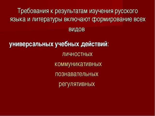Требования к результатам изучения русского языка и литературы включают формир...