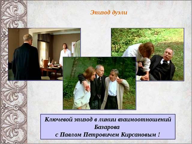 Эпизод дуэли Ключевой эпизод в линии взаимоотношений Базарова с Павлом Петров...