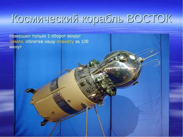 Космический корабль ВОСТОК совершил только 1 оборот вокруг Земли, облетев наш...
