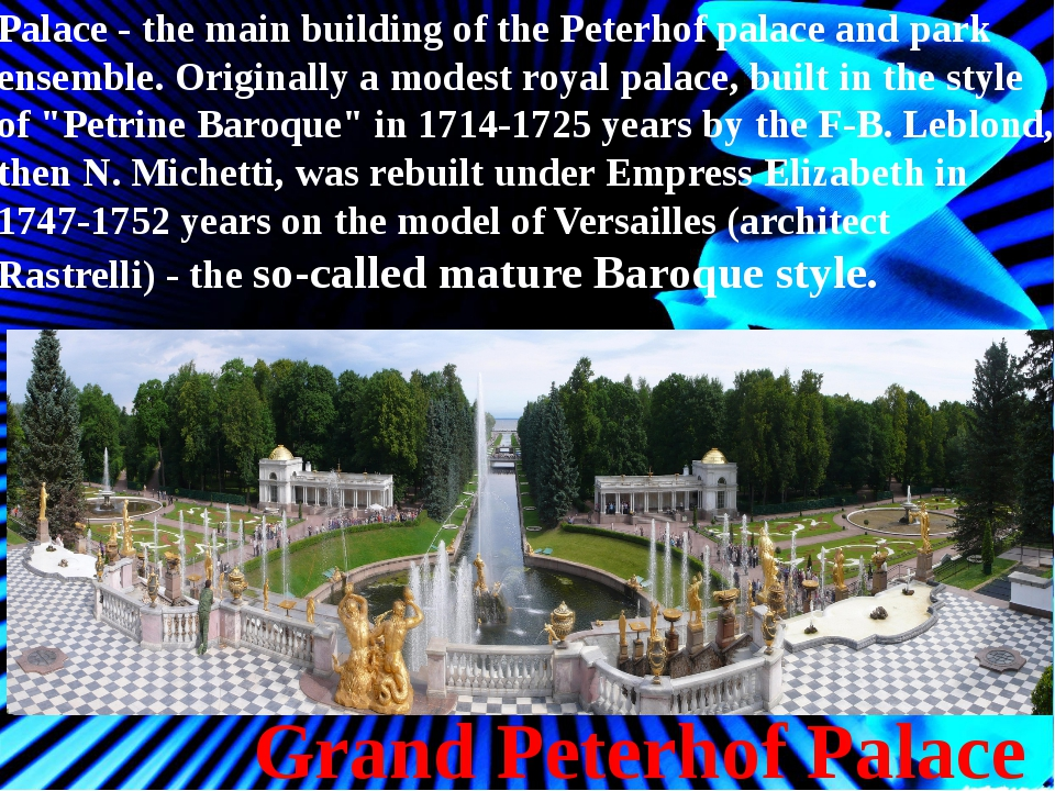 Grand Peterhof Palace Palace - the main building of the Peterhof palace and p...