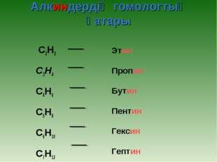 Алкиндердің гомологтық қатары C2H2 C3H4 C4H6 C5H8 C6H10 C7H12 Этин Пропи
