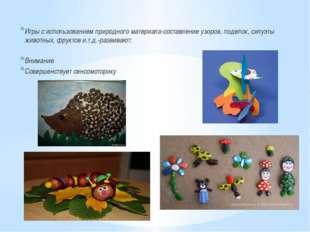 Игры с использованием природного материала-составление узоров, поделок, силу