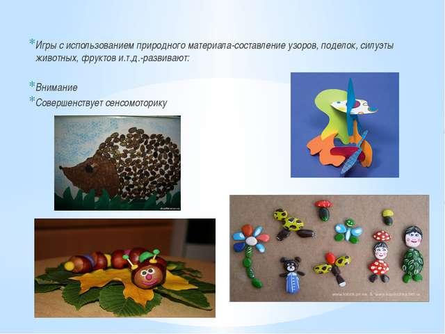 Игры с использованием природного материала-составление узоров, поделок, силу...