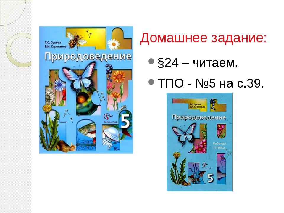 Домашнее задание: §24 – читаем. ТПО - №5 на с.39.