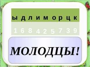 ы д л р о м и ц к 1 6 8 4 2 5 9 7 3 МОЛОДЦЫ!