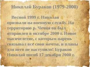 Николай Бураков (1979-2000) Весной 1999 г. Николая призвали на военную служб