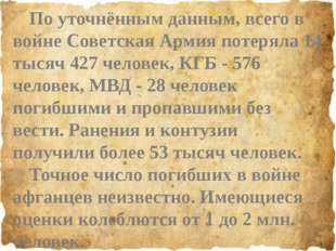 По уточнённым данным, всего в войне Советская Армия потеряла 14 тысяч 427 че