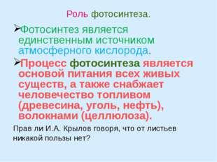 Роль фотосинтеза. Фотосинтез является единственным источником атмосферного ки