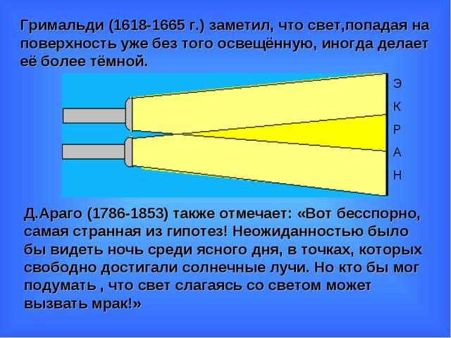 Э К Р А Н Гримальди (1618-1665 г.) заметил, что свет,попадая на поверхность у...