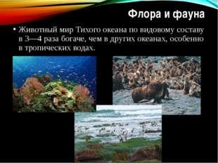 Флора и фауна Животный мир Тихого океана по видовому составу в 3—4 раза богач