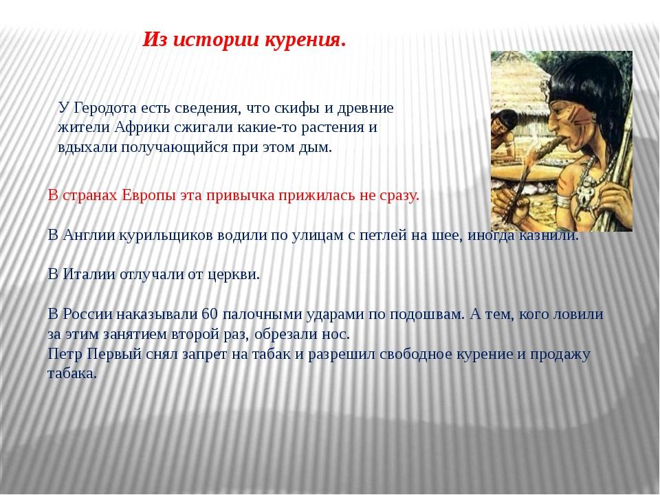 Из истории курения. У Геродота есть сведения, что скифы и древние жители Афри...
