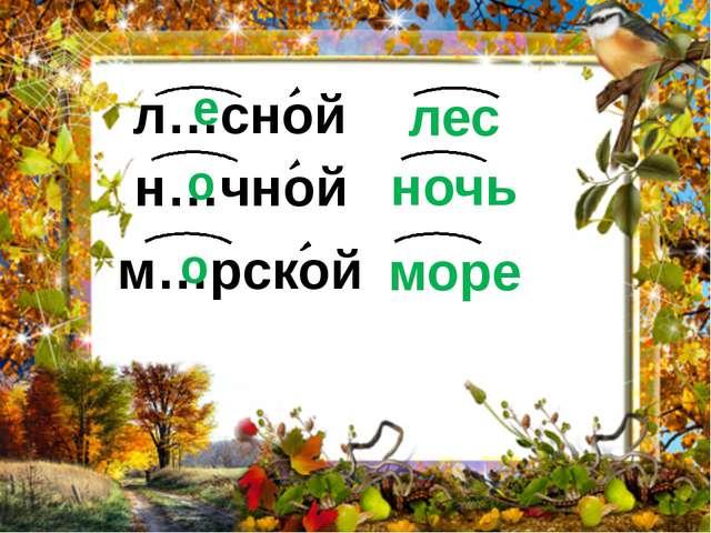 н…чной ночь л…сной лес м…рской море е о о