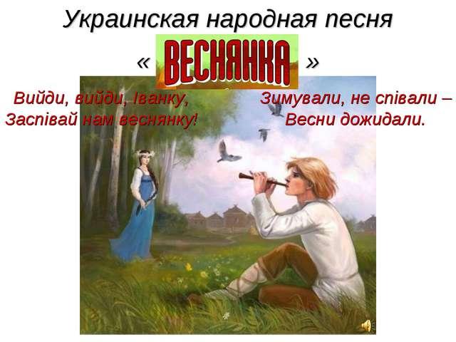 Украинская народная песня « » Зимували, не співали – Весни дожидали. Вийди, в...