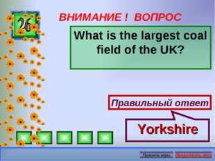ВНИМАНИЕ ! ВОПРОС What is the largest coal field of the UK? Правильный ответ