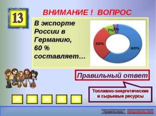 ВНИМАНИЕ ! ВОПРОС В экспорте России в Германию, 60 % составляет… Правильный о